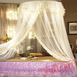 Elegant Hanging Yellow Mosquito Net for Double Bed