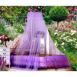 Lace Hanging Purple Mosquito Net for Double Bed