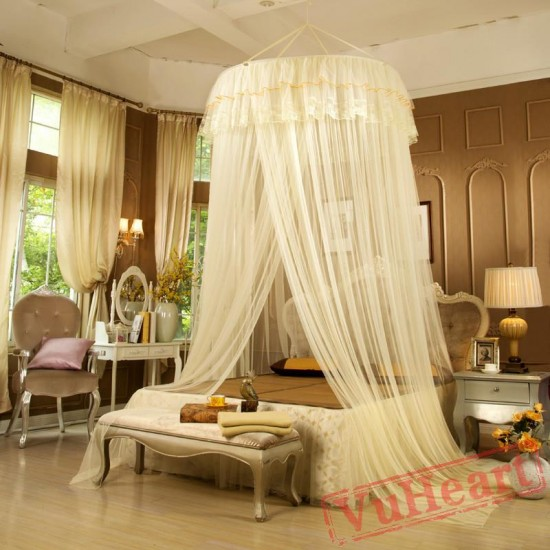 Elegant Lace Purple Mosquito Net for Double Bed