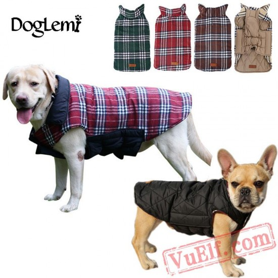 Waterproof Warm Plaid Dog Jacket / Coats / Clothes