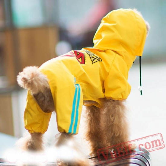 Yellow & Red Superman Dog Raincoat / Clothes