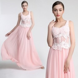 Long Double Shoulder Pink Evening / Prom Dress
