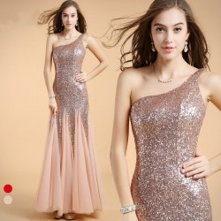 One Shoulder Sequins Long Evening / Prom Dress