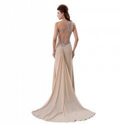 One Shoulder Slit Champagne Prom Dress Chiffon Pleat