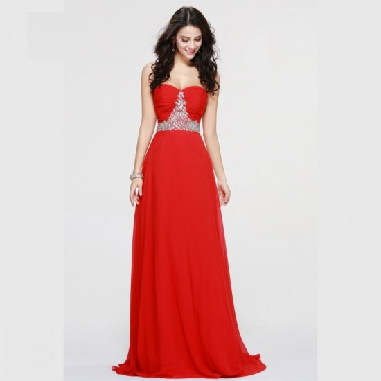 Red Prom Dress Chiffon Beaded Crystal Formal Gowns