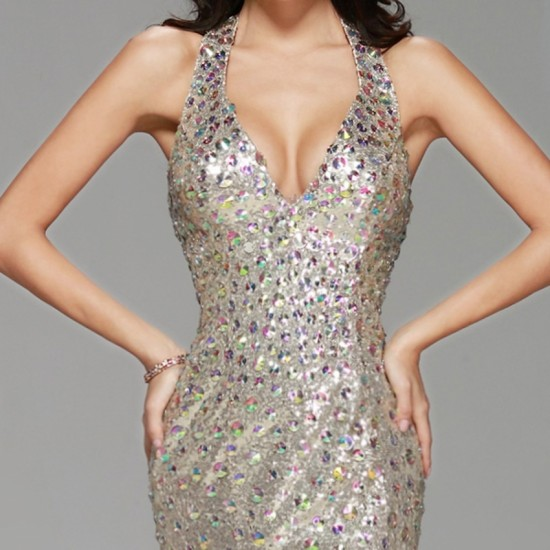 Sexy Champagne Sequin Long Prom Dress Mermaid