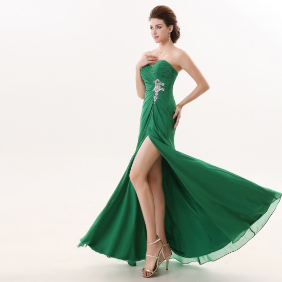 Off Shoulder Sweetheart Green Padded Prom Dresses