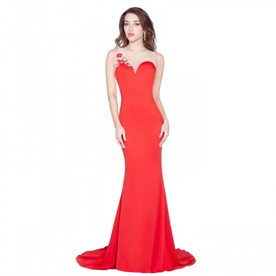 Red Fashion O-Neck Satin Pearls Beaded Long Prom Dress
