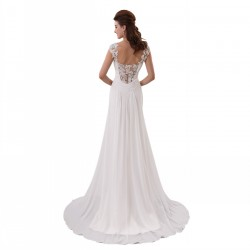 Lace Beaded Chiffon V-Neck Beach Wedding Dress