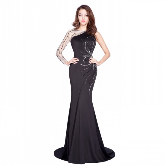 Mermaid Long Sleeves Beaded Black Prom Gowns