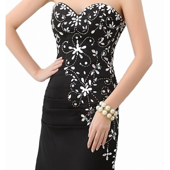 Black Beaded Sexy Backless Court Train Prom Gowns