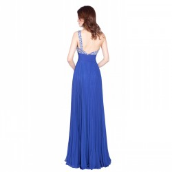 One Shoulder Royal Blue Long Prom Dress Beaded Backless