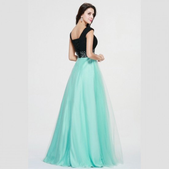 Lace Up Back Long Prom Dress Green and Black