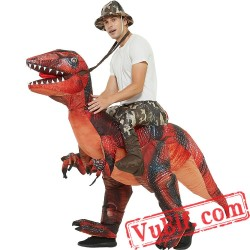 Velociraptor Dinosaur T-Rex Ride On Inflatable Blow Up Costume