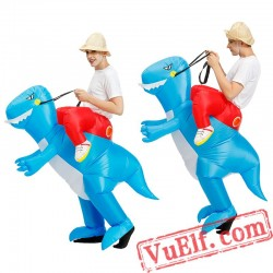 Adult Kids Dinosaur T rex Ride On Inflatable Blow Up Costume