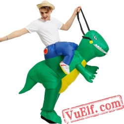 Adult Green Dinosaur Ride On Inflatable Blow Up T rex Costume