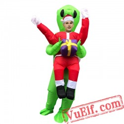 Adult Santa Claus Green Alien Inflatable Blow Up Costume