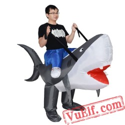 Adult Shark Ride On Inflatable Blow Up Costume