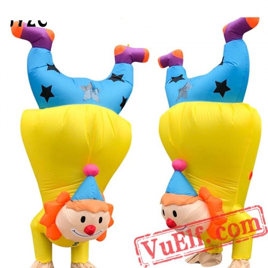 Adult Stand Upside Down Clown Inflatable Blow Up Costume