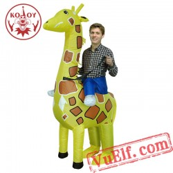 Adult Giraffe Animal Ride On Inflatable Blow Up Costume