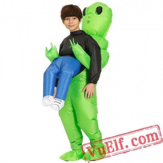 Adult Kids Scary Green Alien Inflatable Blow Up Costume