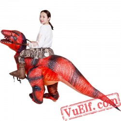 Adult Red Dinosaur T Rex Ride On Inflatable Blow Up Costume