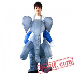 Adult Ride On Elephant Inflatable Blow Up Costume