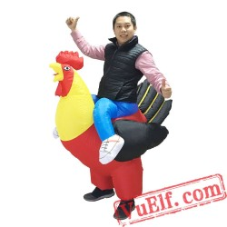 Adult Kids Rooster Ride On Inflatable Blow Up Costume