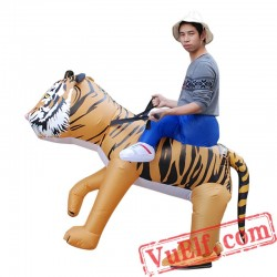 Adult Kids Tiger Ride On Inflatable Blow Up Costume