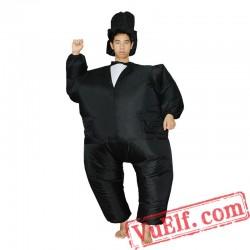 Black Suit Gentleman Inflatable Blow Up Costume