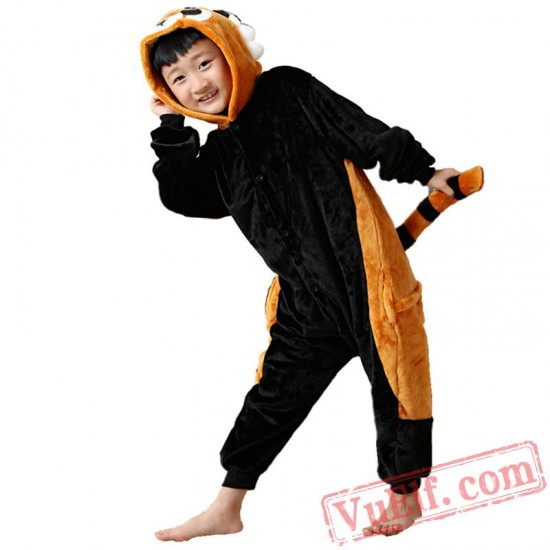 Kids Black Raccoon Kigurumi Onesie Pajamas Kids Kigurumi Costumes