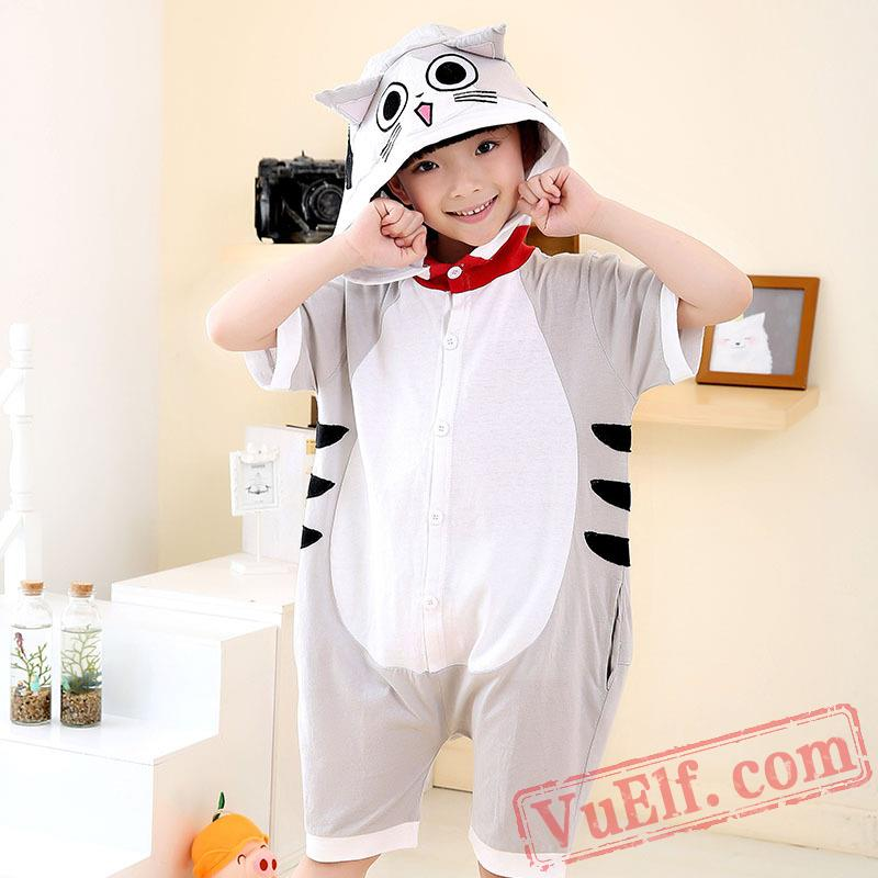 Cat Animal Onesie Pajamas Summer Kids Kigurumi Onesies