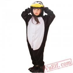 Black Penguin Onesies Costumes Kids Kigurumi Pajamas
