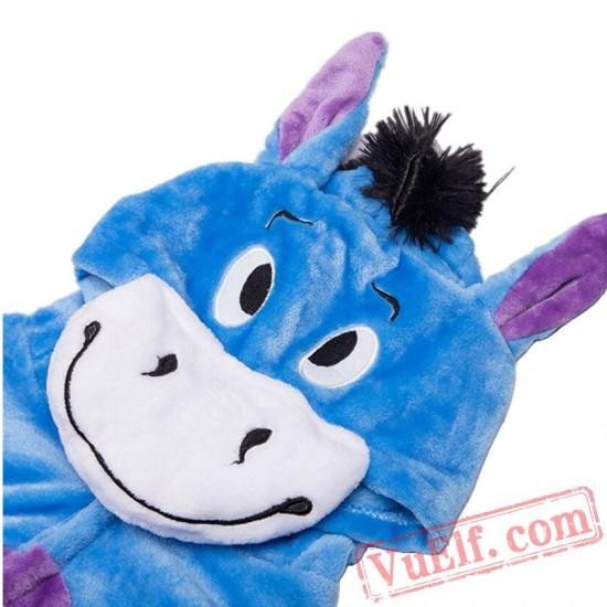 Blue Donkey Onesies Costumes Kids Kigurumi Pajamas