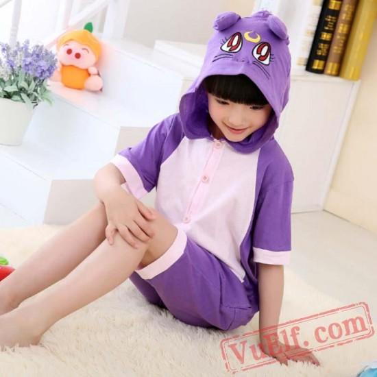 Purple Cat Kigurumi Onesies Kids Animal Onesie Costumes