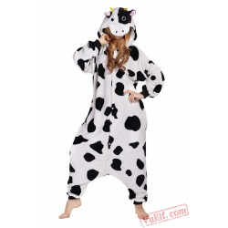 Black White Dot Milk Cow Onesie Costumes / Pajamas for Adult - Kigurumi Onesies