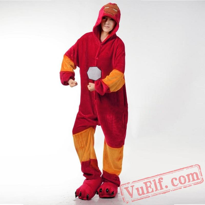 Character Red Iron Onesie Costumes Pajamas For Adult