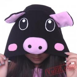 Black Pink Pig Kigurumi Onesie,Animal Onesie Pajamas