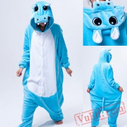 Blue Hippo Onesie Pajamas Adult Animal Kigurumi Costumes