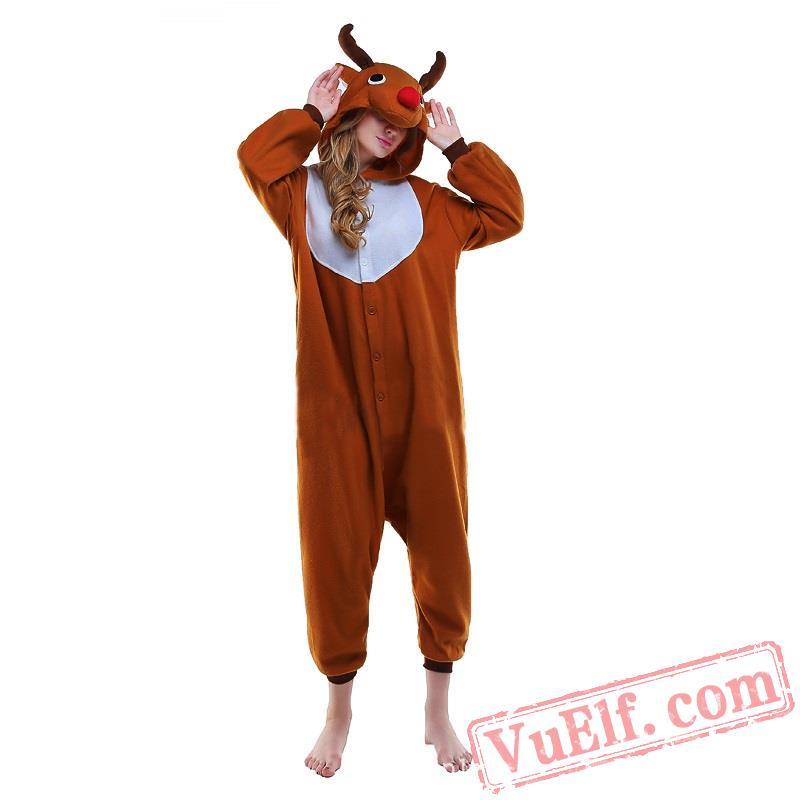 a5aa819ef5ea Deer Kigurumi Pajamas Adult Animal Onesie Costumes