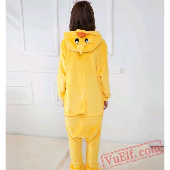 Adult Animal Onesies,Yellow Duck Kigurumi Pajama Costumes