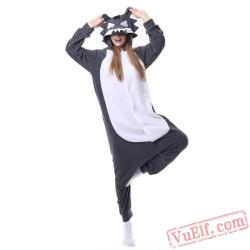 Black Wolf Kigurumi Onesies,Adult Pajamas Costumes