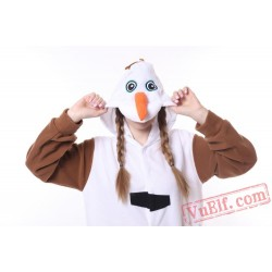 Adult Cartoon Olaf Snowman Onesie Pajamas Costume