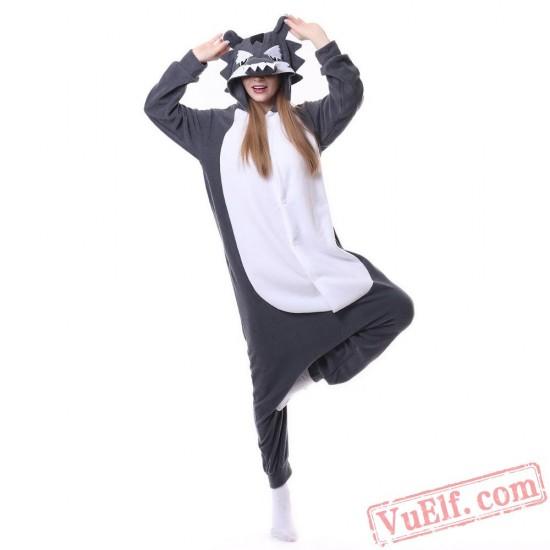 Grag Wolf Kigurumi Onesie Pajama Costumes Animal Onesies