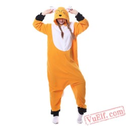 Adult Unisex Orange Fox Kigurumi Onesies Pajamas Costumes