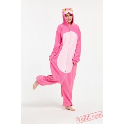 Adult Cartoon Pink Wolf Kigurumi Onesies Pajamas Costumes