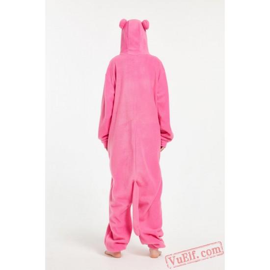 Adult Cartoon Pink Wolf Kigurumi Onesies Pajamas Costumes