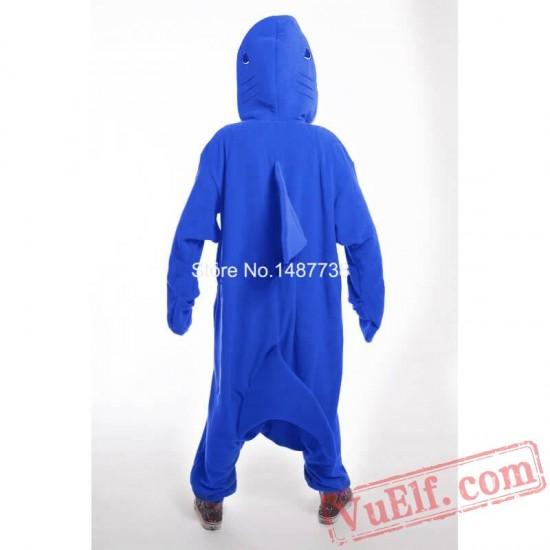 Adult Blue Shark Kigurumi Onesie Pajamas Costume Unisex