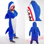 Adult Blue Shark Kigurumi Onesie Pajamas Costume Unisex