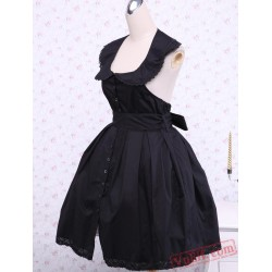 Black Cotton Gothic Lolita Dress